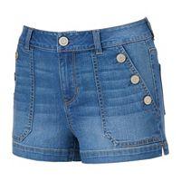 Juniors' SO® Button Pocket Jean Shortie Shorts