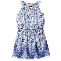 Girls 7-16 My Michelle Patterned Pom-Pom Trim Dress
