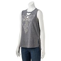 Juniors' About A Girl Feather Cactus Graphic Tank