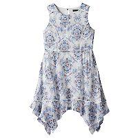 Girls 7-16 My Michelle Crochet Trim Patterned Chiffon Dress