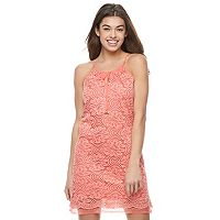 Juniors' Lily Rose Lace Tie Front Shift Dress