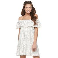 Juniors' Lily Rose Lace Off the Shoulder Shift Dress