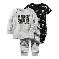 Baby Boy Carter's Pirate Bodysuit, Graphic Tee & Striped Pants Set.