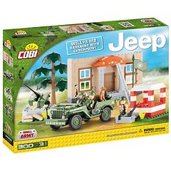 COBI Willys MB Barracks with Checkpoint Construction Blocks Building Kit by