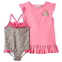 Toddler Girl Wippette Cat Cover Up & Cheetah Print One-Piece Swimsuit Set
