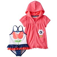 Toddler Girl Wippette Flower One-Piece Swimsuit & French Terry Cover-Up