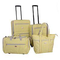 American Flyer Greek Key 4-Piece Wheeled Luggage Set