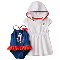 Toddler Girl Wippette Anchor One-Piece Swimsuit & French Terry Cover-Up Set