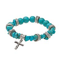 Believe In Simulated Turquoise Beaded Cross Charm Stretch Bracelet