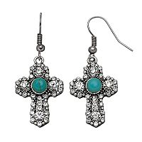 Believe In Simulated Turquoise Cross Drop Earrings