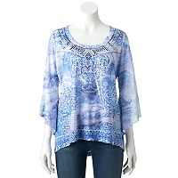 Women's World Unity Print Sequin Top