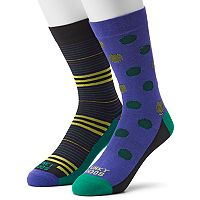 Men's Funky Socks 2-pack Feedstripe Dot Socks