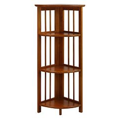 Casual Home 4-Shelf Folding Corner Bookcase by
