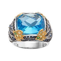Sophie Miller Two Tone Sterling Silver Simulated Aquamarine & Gemstone Ring by