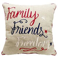 Celebrate Americana Together ''Family, Friends, Freedom'' Throw Pillow