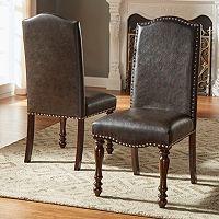 HomeVance Ingram Nailhead Dining Chair 2-piece Set