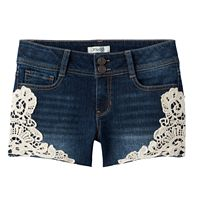 Girls 7-16 & Plus Size Mudd® Crochet Trim Dark Wash Jean Shorts