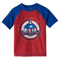 Toddler Boy Captain America Shield Colorblock Rashguard