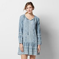 Women's SONOMA Goods for Life™ Embroidered Chambray Drop-Waist Dress