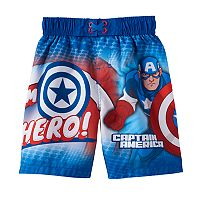 Toddler Boy Marvel Captain America Hero Swim Trunks