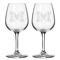Boelter Michigan Wolverines 2-Pack Etched Wine Glasses