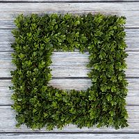 Pure Garden Artificial Boxwood Square Wreath