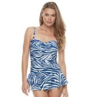 Women's Chaps Tummy Slimmer Abstract Swimdress