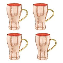 Old Dutch 4-pc. Hammered Copper Soda Fountain-Style Moscow Mule Mug Set by