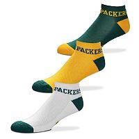 Men's For Bare Feet Green Bay Packers 3-Pack Low-Cut Socks