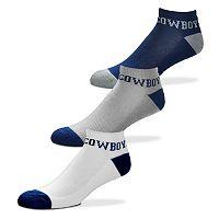 Men's For Bare Feet Dallas Cowboys 3-Pack Low-Cut Socks