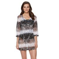 Women's Apt. 9 3/4 Sleeve Lace-Up Ombre Burnout Cover-Up