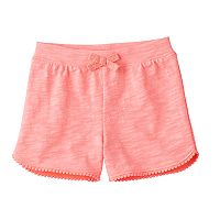 Baby Girl Jumping Beans® Slubbed Pom-Trim Shorts