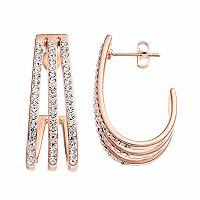 Chrystina 14k Rose Gold Plated Crystal Triple J-Hoop Earrings