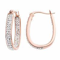 Chrystina 14k Rose Gold Plated Crystal Inside Out U-Hoop Earrings