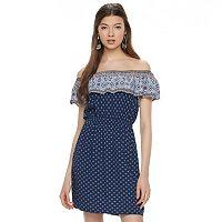 Juniors' Almost Famous Print Off The Shoulder Dress