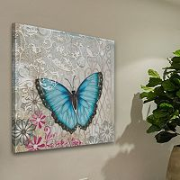 Marmont Hill A Light Blue Butterfly Canvas Wall Art