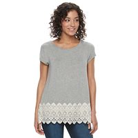 Juniors' Rewind Crochet Scalloped Tee