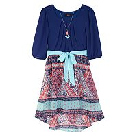 Girls 7-16 IZ Amy Byer 3/4-Length Sleeve Chiffon High-Low Ribbon Belt Dress with Necklace