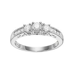 14k White Gold 1/2 Carat T.W. Diamond 3-Stone Engagement Ring by