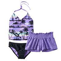 Girls 7-16 Freestyle Revolution Twilight Beach Halter Tankini Swimsuit Set