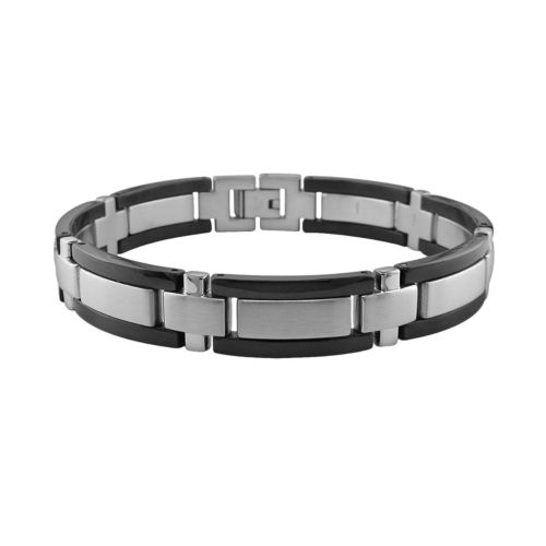 Stainless Steel and Black Accent Bracelet - Men