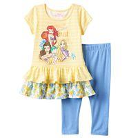 Disney Princess Girls 4-6x Ariel, Belle & Rapunzel Tunic & Leggings Set