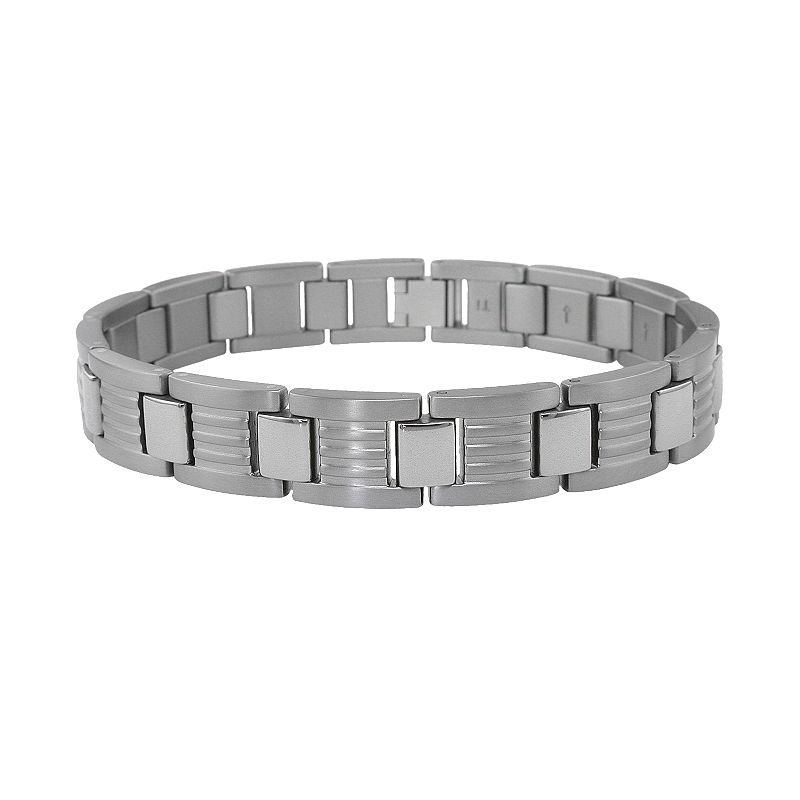 Titanium Ribbed Link Bracelet - Men