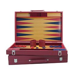 WorldWise Imports 20-in. Burgundy & Blue Wood Tournament Backgammon Set by