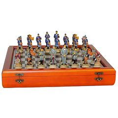 WorldWise Imports Civil War Generals Chess Set & Cherry-Stained Chest Board Set by