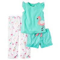 Toddler Girl Carter's Flamingo Tee, Polka-Dot Shorts & Printed Pants Pajama Set
