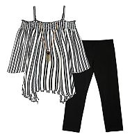 Girls 7-16 IZ Amy Byer Striped Top with Necklace & Pants Set