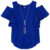 Girls 7-16 IZ Amy Byer Cold Shoulder Ruffle Top with Necklace