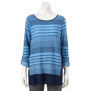 Women's Dana Buchman Striped Roll-Tab Top