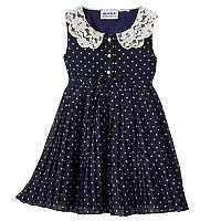 Baby Girl Blueberi Boulevard Polka-Dot Pleated Chiffon Dress